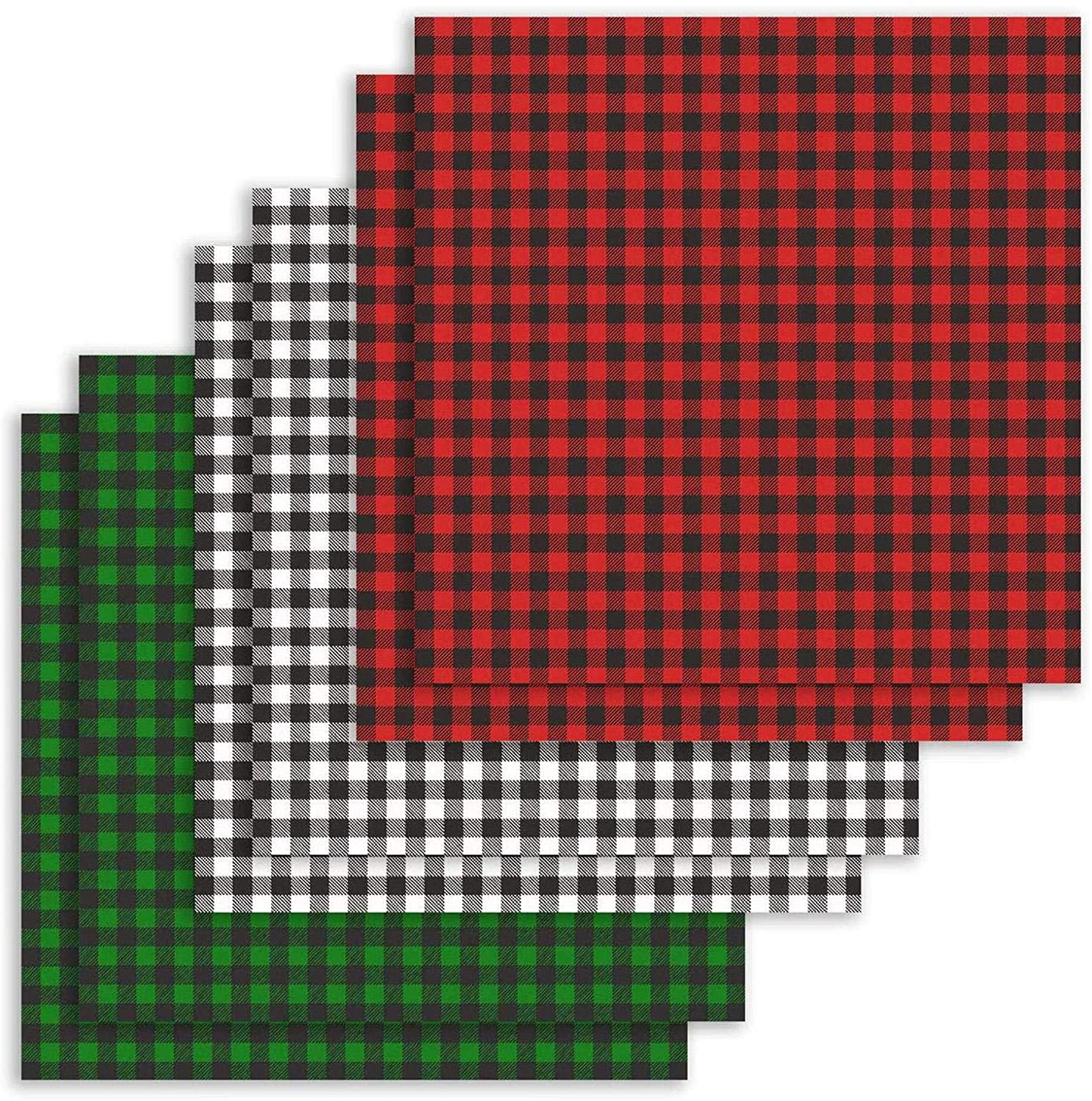 6pcs Christmas Cotton Fabric Squares, 18.5x18.5 Inch Squares Black White Red Green Plaid Quilting Fabric Patchwork, DIY Sewing Scrapbooking Crafts Fabric for Festival Decorations