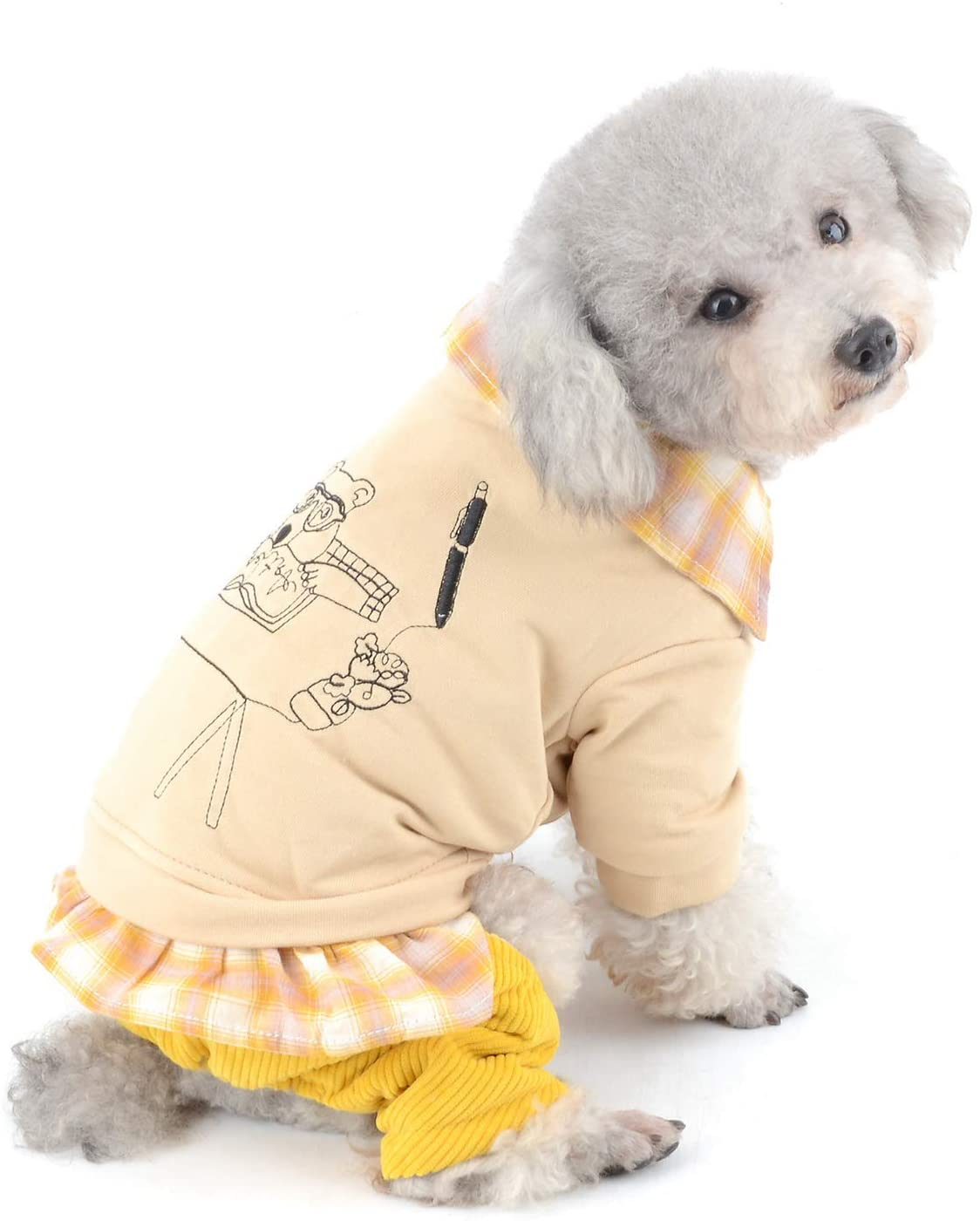SELMAI Puppy Sweatshirts for Small Dogs Plaid Graffiti Painting Cat Apparel for Pets Winter Fleece Clothes for Dogs Soft Velvet Pants Outfits for Girl Boy Dogs Jumpsuit Walking Outdoor