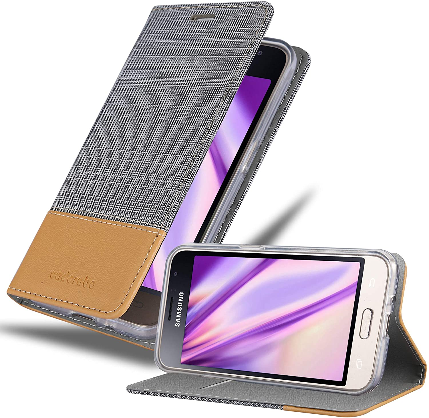 Cadorabo Book Case Works with Samsung Galaxy J1 2016 in Light Grey Brown - with Magnetic Closure, Stand Function and Card Slot - Wallet Etui Cover Pouch PU Leather Flip