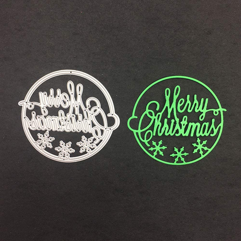 3.1 by 3.1 Inches Merry Christmas Metal Cutting Dies for Card Making Scrapbooking Christmas Craft Dies (JA060608)
