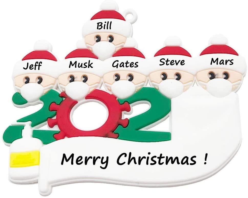 VANFIT 2020 Christmas Ornament DIY Quarantine Survivor Family Customized Christmas Decorating Kit Keepsake Tree Hanging Creative Gift for Family of 6