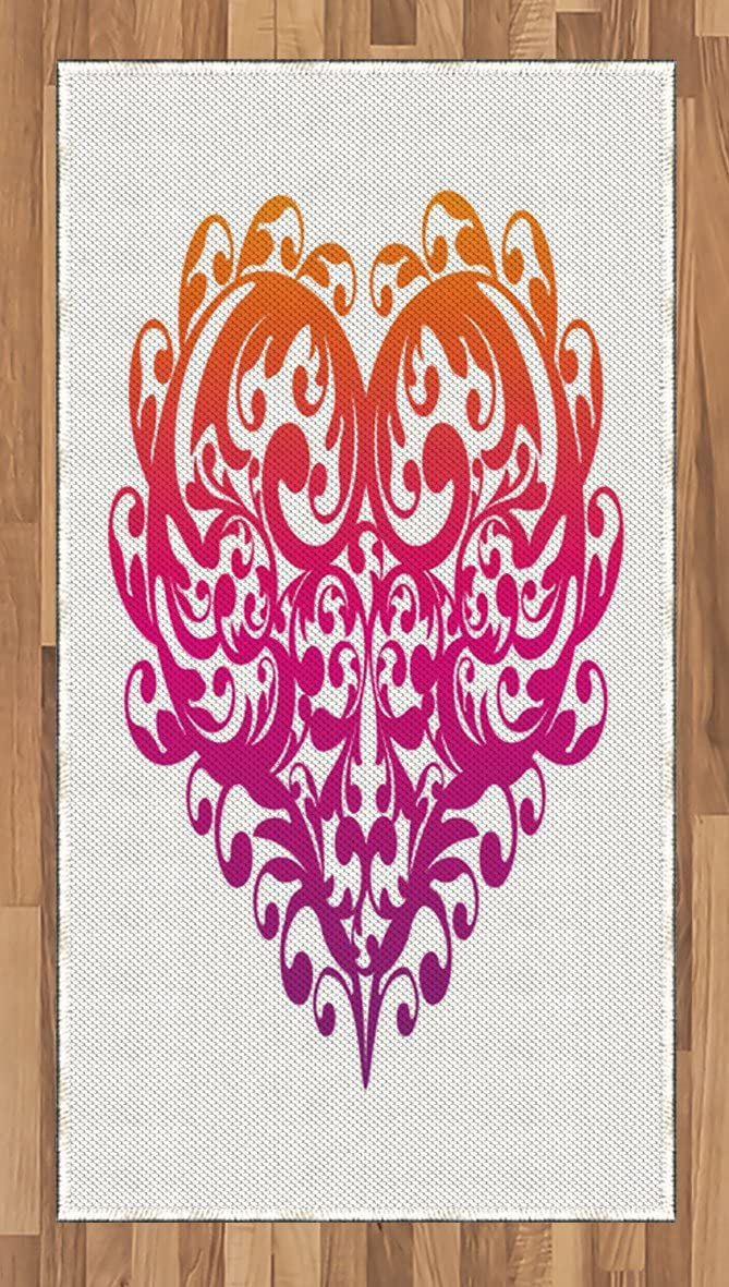 Ambesonne Orange and Pink Area Rug, Vibrant Abstract Heart with Ornament Pattern Swirls Curls Scroll Style, Flat Woven Accent Rug for Living Room Bedroom Dining Room, 2.6' x 5', Magenta Orange