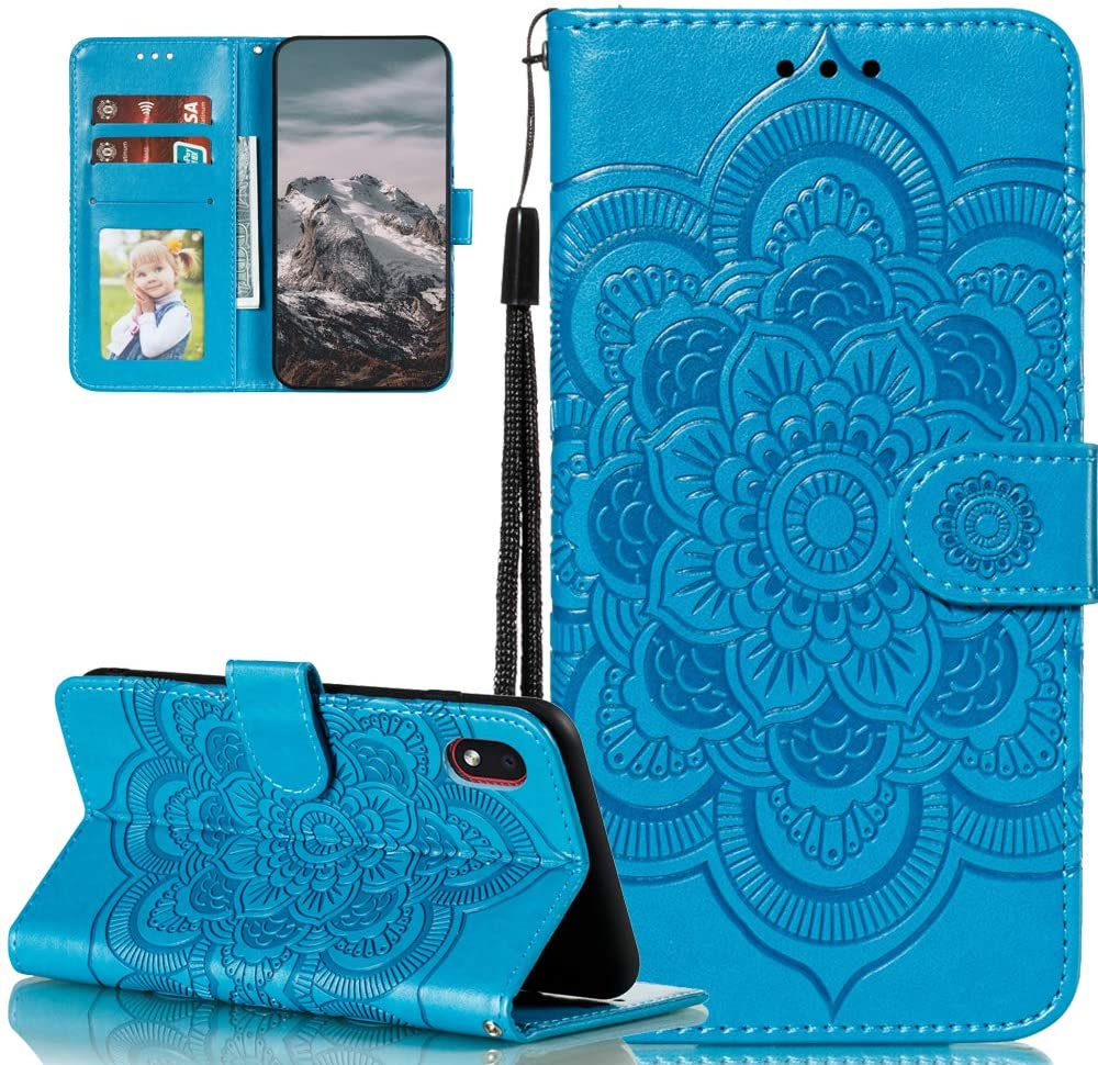 ISADENSER for Galaxy A01 Core Case Samsung A01 Core Case Elegant Embossing Totem Wallet PU Leather Book Style Card Slot Cover Compatible for Samsung Galaxy A01 Core Mandala Blue LD