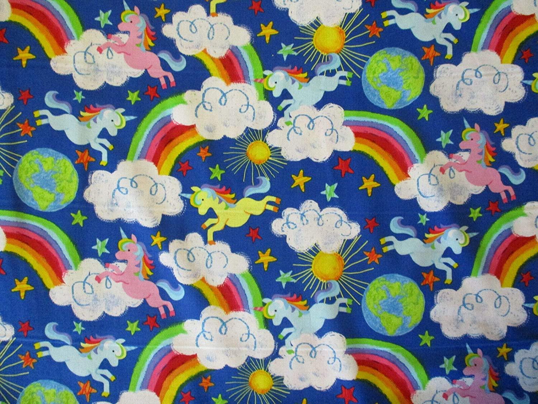 Unicorn Rainbow Cloud Star Sun Unicorns Bright 100% Cotton Fabric Fat Quarter (18