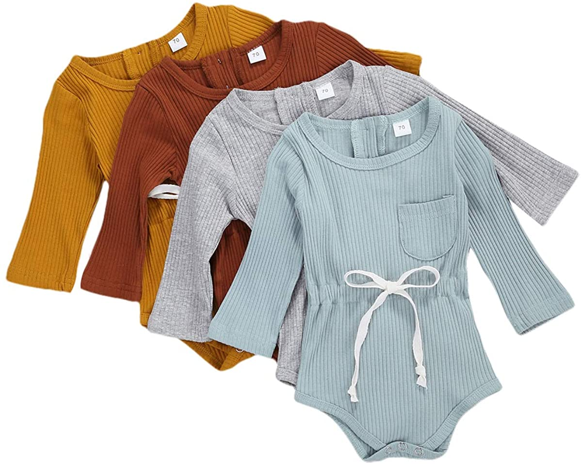 KMBANGI Baby Girl Boy Romper Bodysuit Pocket Solid One Piece Jumpsuits Infant Long Sleeve Fall Clothes Outfits