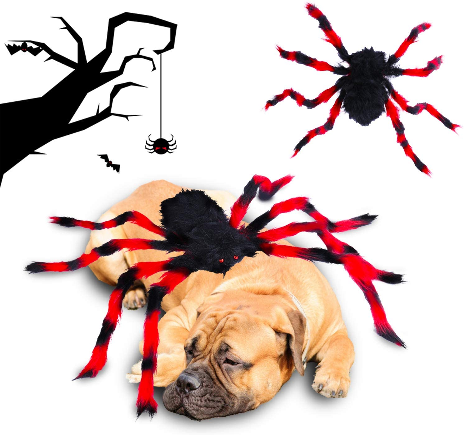senyouth Halloween Dog Spider Costume - Fun Party Dress Up Accessories Furry Small to Medium Dogs Simulation Spider Pet Costume Cosplay Dress Up Holiday Decoration Costume Halloween Pet Accessories S