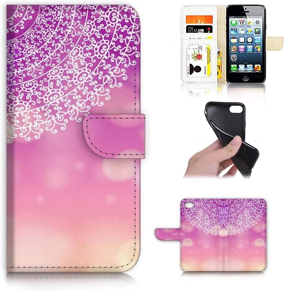 Ajour Pty Ltd for iPhone 8 Plus, iPhone 7 Plus, Designed Flip Wallet Phone Case Cover, A21807 Mandala Artwork 21807