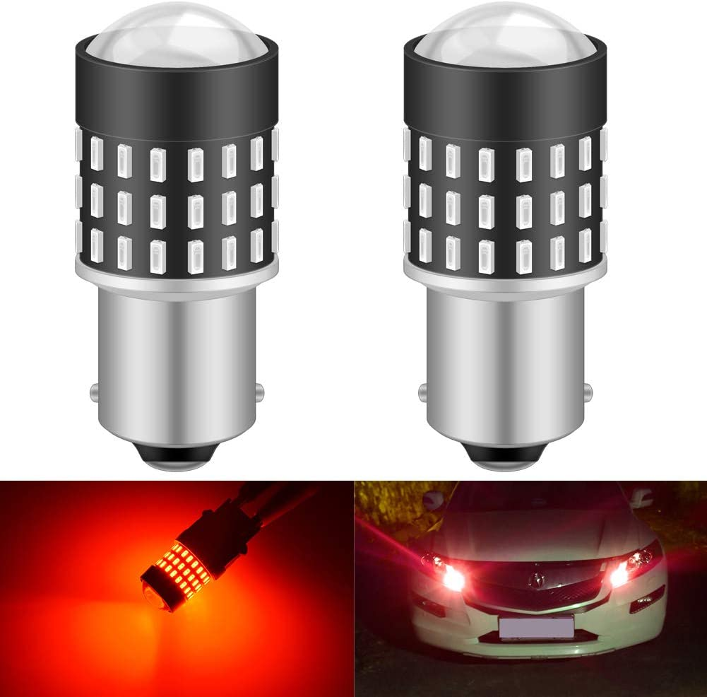 KATUR 1156 BA15S 7506 1073 1095 Led Light Bulb High Power 3014 54 Chipsets Super Bright 650 Lumens Replace for Turn Signal Back Up Reverse Brake Tail Stop Parking RV Lights,Brilliant Red(Pack of 2)