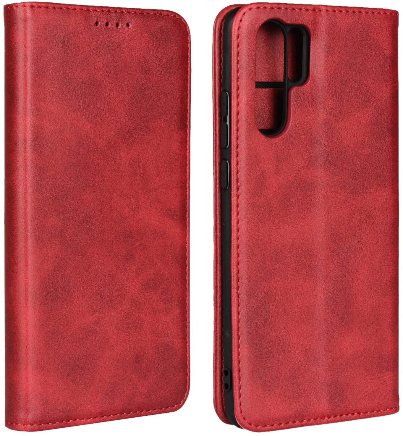 Zouzt Premium Pu Leather Wallet case Compatible Huawei p30 pro,Folio Flip Case Magnetic Closure/Kickstand Feature/Card Slots(Red)