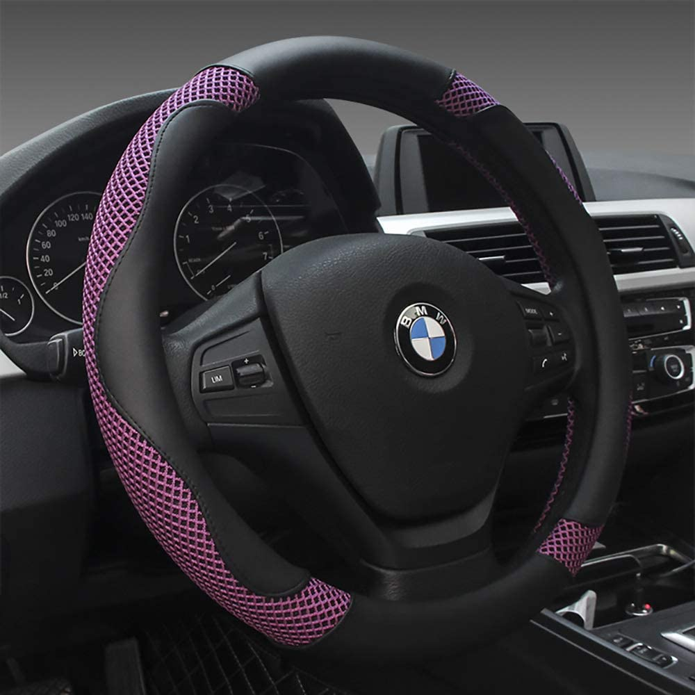Universal Luxury Steering Wheel Cover for Women and Men, 15 inch Microfiber Leather Car Steering Wheel Cover,Breathable&Anti-Slip,Warm in Winter and Cool in Summer,Elgant Purple