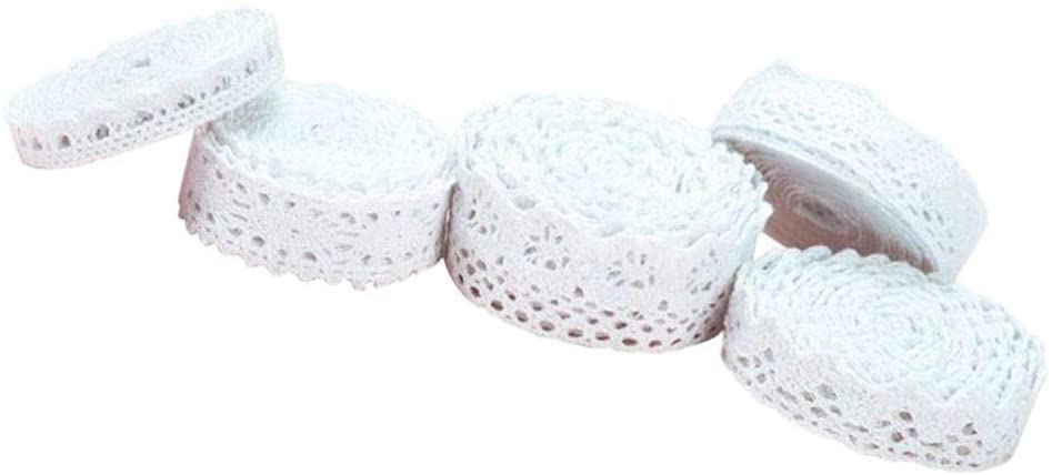 GARNECK 5 Rolls White Lace Ribbon Cotton Lace Edge Cream Trims Embroidery Patch Vintage DIY Sewing Craft for Gift Flower Wrapping 2cm