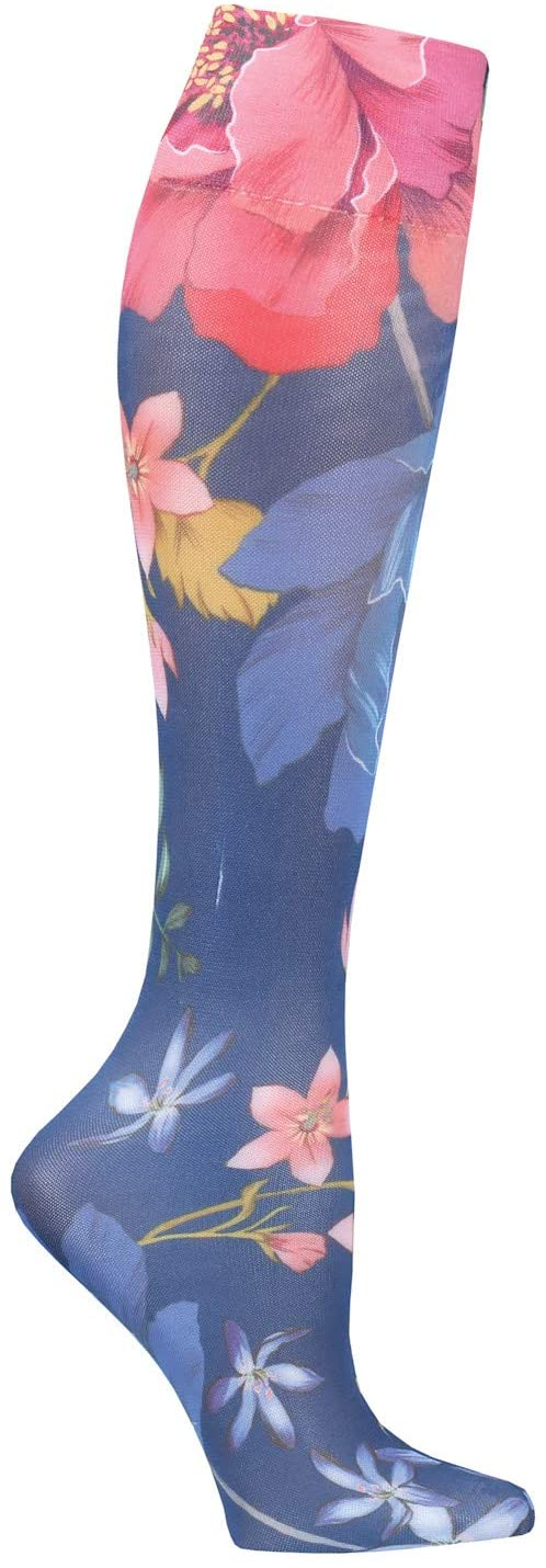 Celeste Stein Women's Mild Compression Wide Calf Stockings - Navy Paradise