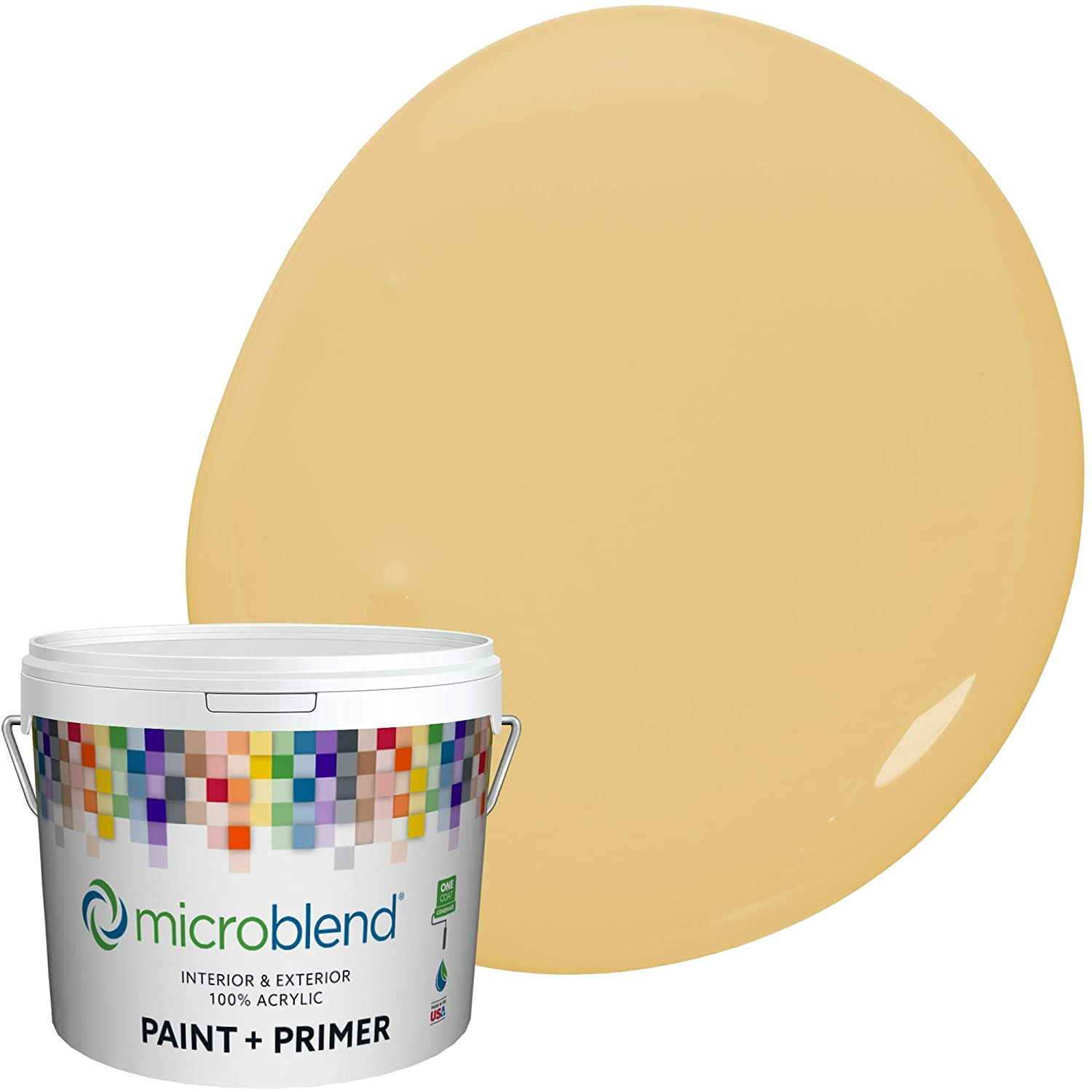Microblend Exterior Paint and Primer - Yellow/Tuscon Gold, Semi-Gloss Sheen, 1-Gallon, Premium Quality, One Coat Hide, Low VOC, Washable, Microblend Country Collection