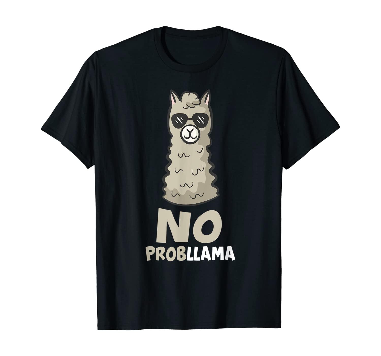Funny Llama With Sunglasses No Probllama Cute Llama T-Shirt
