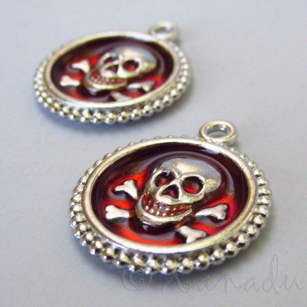 Charm - Jewelry - Pendant - Skull and Crossbones red 1 pcs