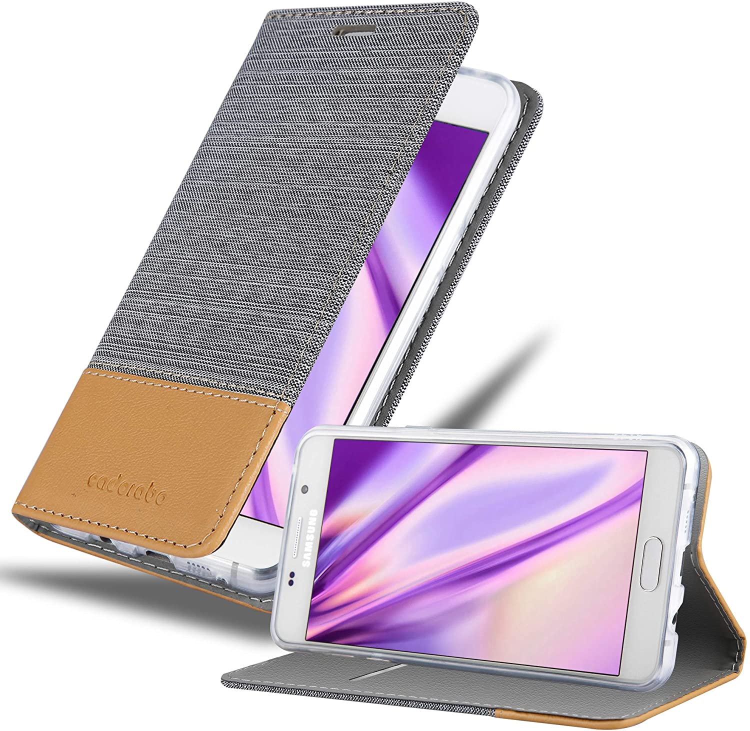 Cadorabo Book Case Works with Samsung Galaxy A3 2016 in Light Grey Brown - with Magnetic Closure, Stand Function and Card Slot - Wallet Etui Cover Pouch PU Leather Flip
