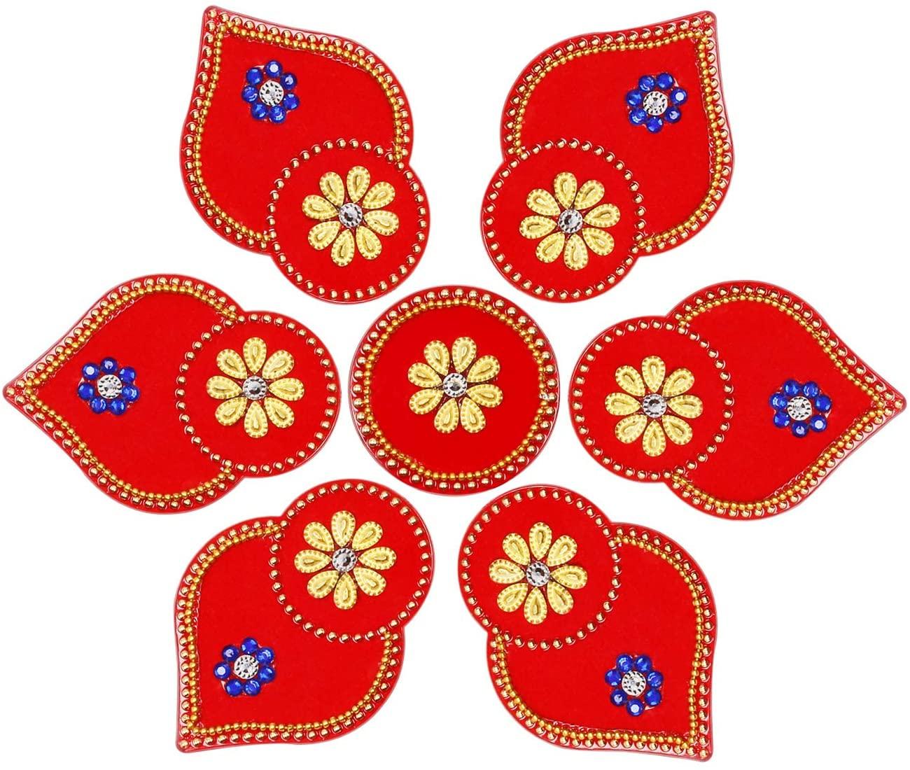 NAVRANG Diwali Acrylic Handmade Rangoli Home Decor Floor Stickers Natural Leaf Design Red Color 7 Pieces Diamond, Kundan & Decorative Stones Studed