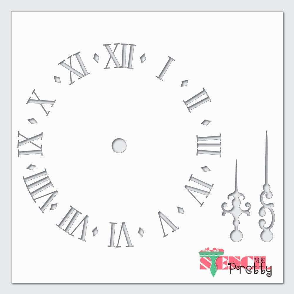 Roman Numerals Clock Fancy Dials Stencil-Multipack (S, M, L)| Ultra Thick Exhibit Grade White Color Material