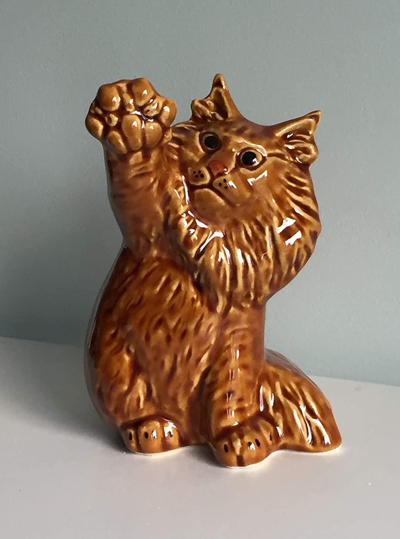 Siberian Redhead cat faience figurine, handmade, porcelain cat figurine