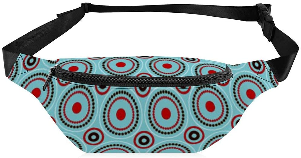 Waist Bag for Women Men Circular Illustrator Pattern Fanny Pack with Adjustable Belt Crossbody for Workout Exercise Party Travel Hiking Walking Cycling
