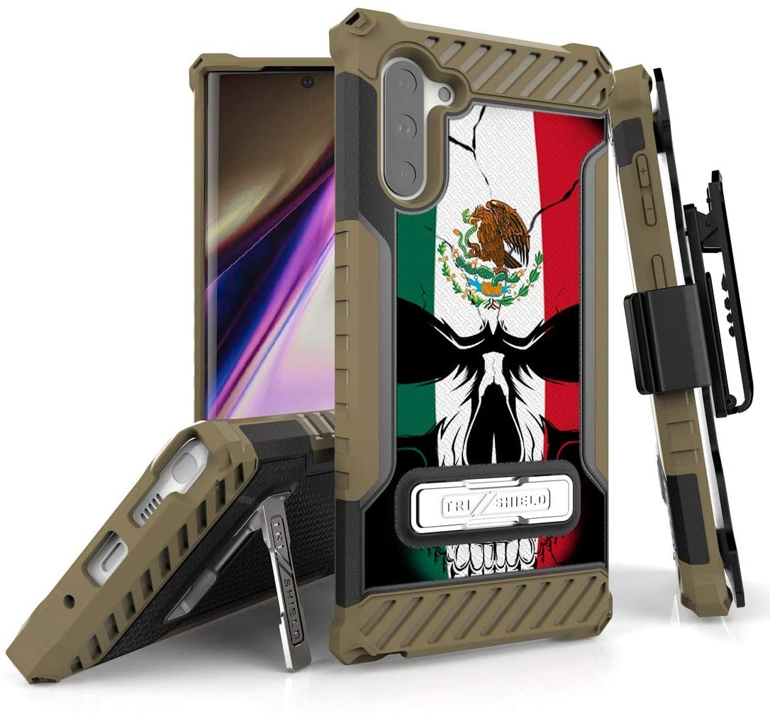 "BEYOND CELL Tri-Shield Serials Compatible with Samsung Galaxy Note 10 (6.3"") Phone Case, Military Grade Rugged Cover with Metal Kickstand & Belt Clip Holster"