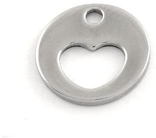 Wholesale Stainless Steel Heart Charm Pendants Silver 12mm 5 Packs of 5