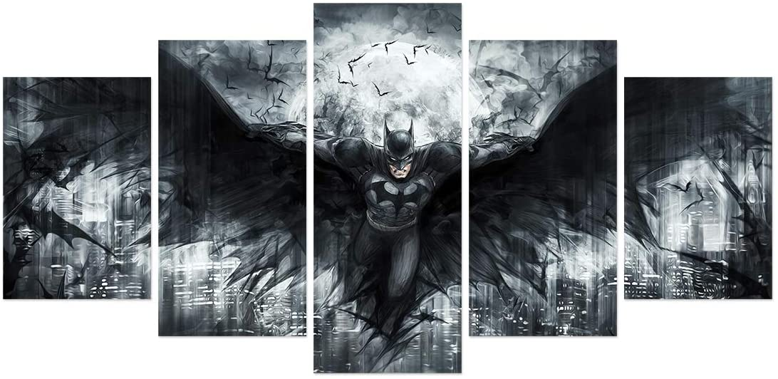 FUNHUA Batman Poster HD printed on Canvas Unframed 5 Piece DC Superhero Art Painting Room Wall Decor