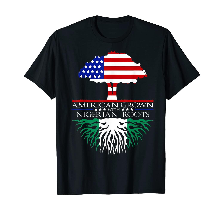 Nigerian African Roots American Grown Tree Flag USA Nigeria T-Shirt