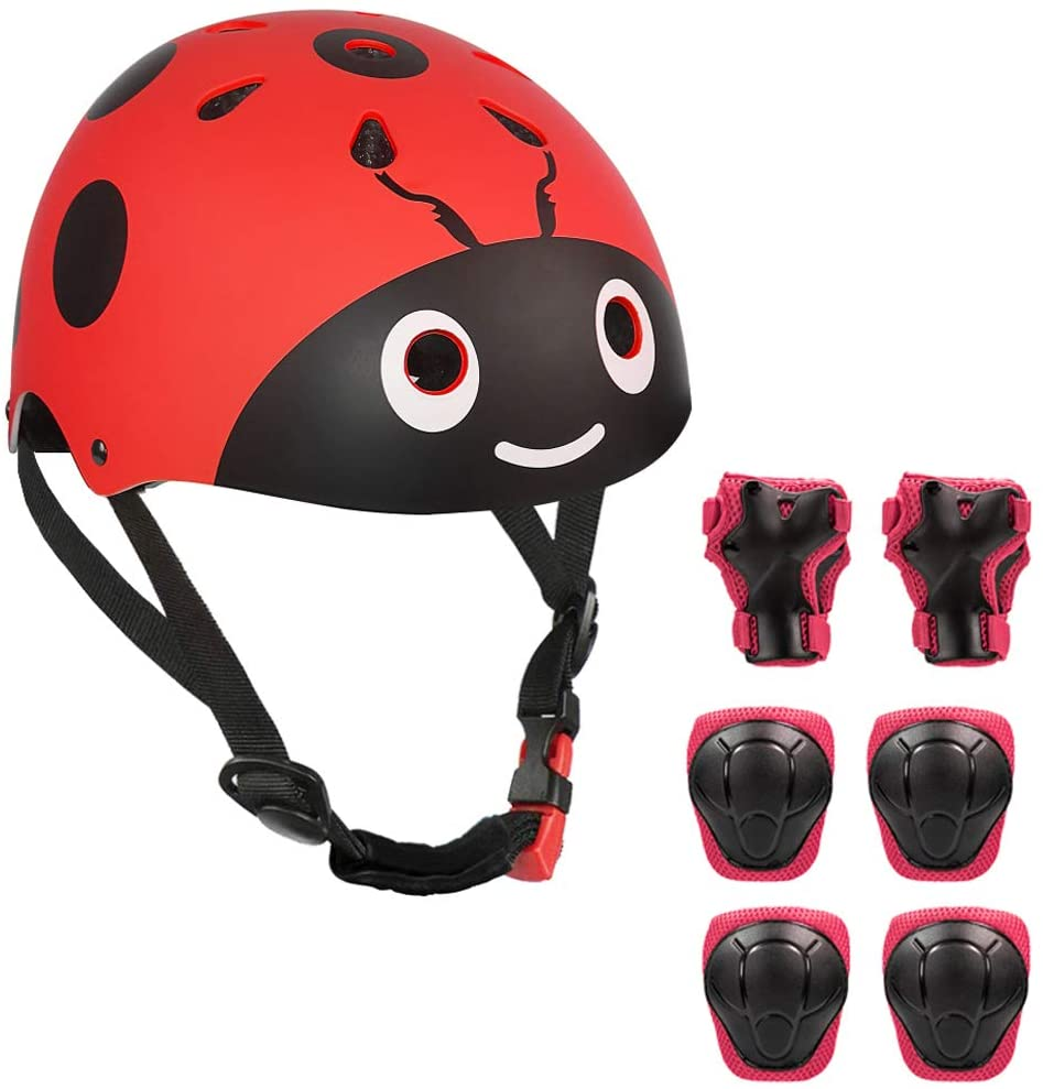 LANOVAGEAR Kids Bike Helmet Knee Elbow Pads, Ages 3-8 Toddler Helmet with Protective Gear Set 7PCS, for Bicycle Cycling Skateboard Scooter Inline Skating