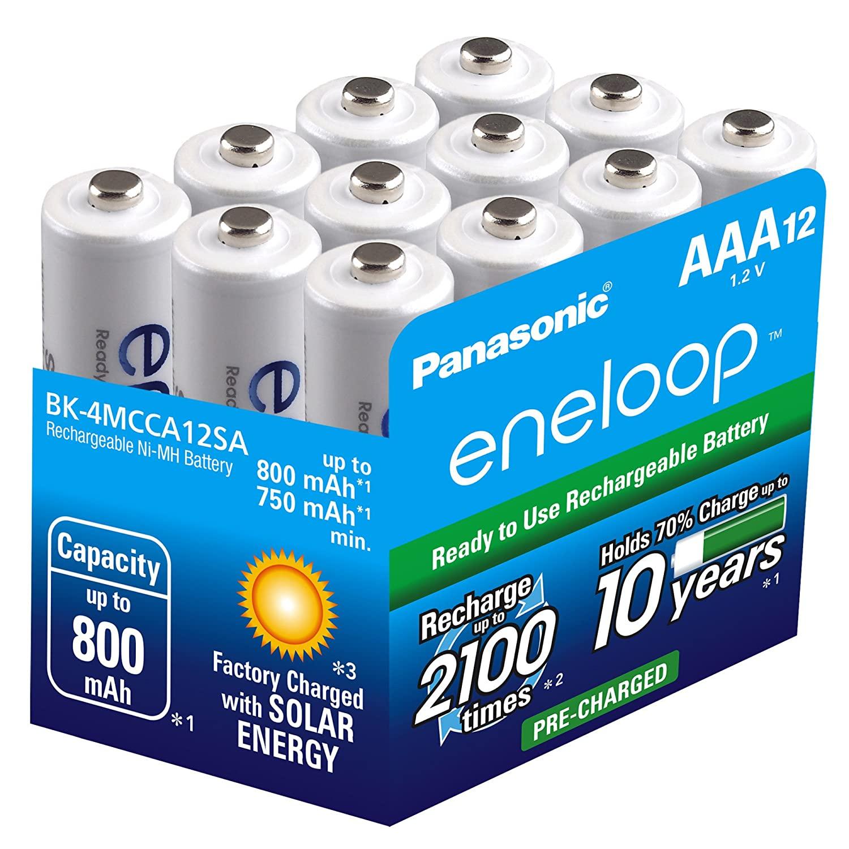 eneloop Panasonic NiMH 2100 Cycle Rechargeable AAA Batteries - 12 Pack - BK-4MCCA12SA