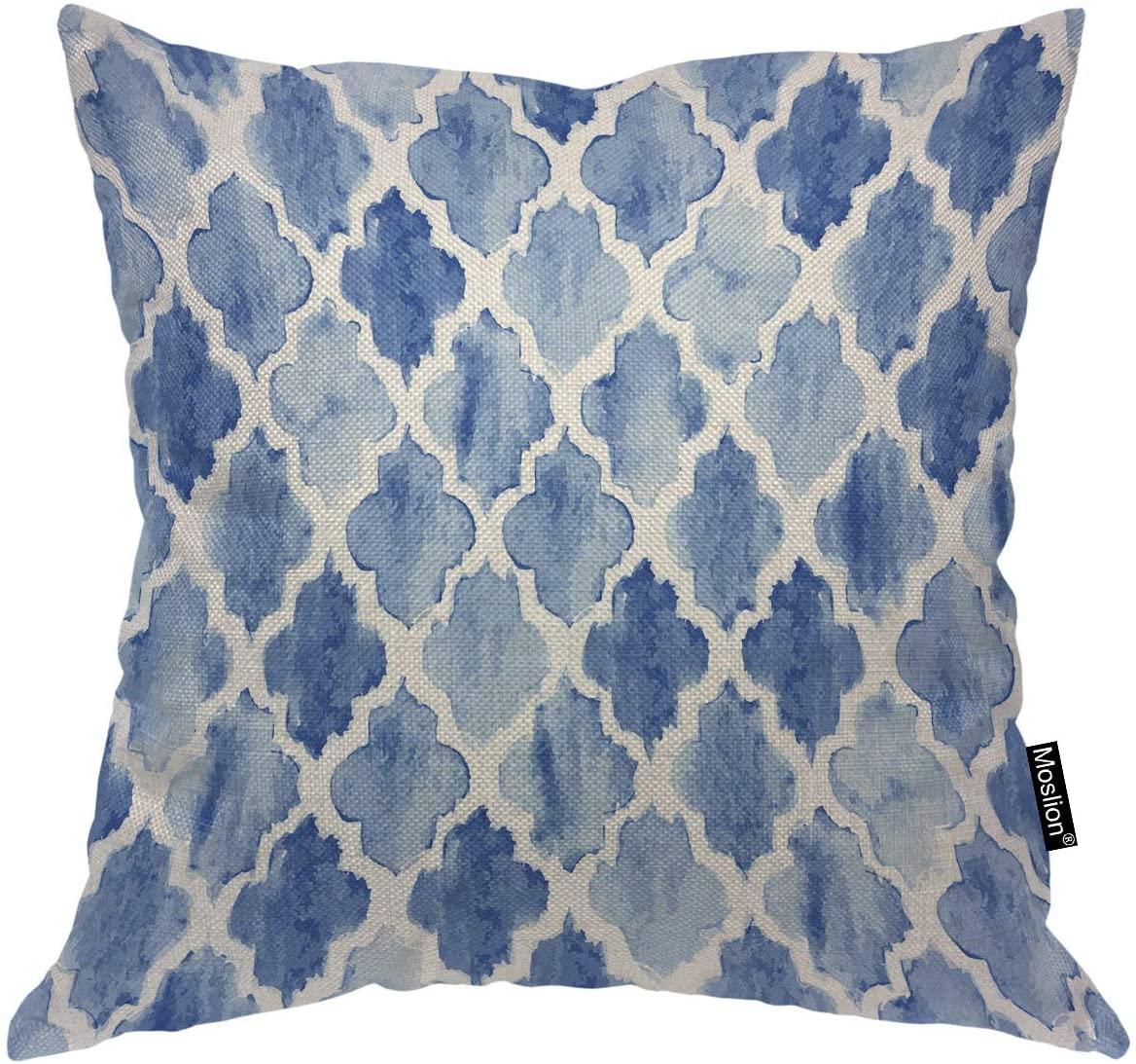 Moslion Throw Pillow Cover Moroccan Pattern Vintage Seamless Blue Geometric Modern Quatrefoil Design Square Pillow Case Cushion Cover for Home Car Decorative Cotton Linen 18x18 Inch