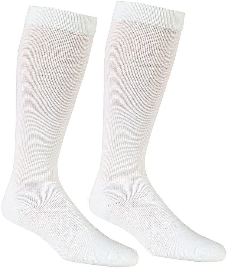 Unisex Adult Firm Compression Knee High Support Socks - White - Medium