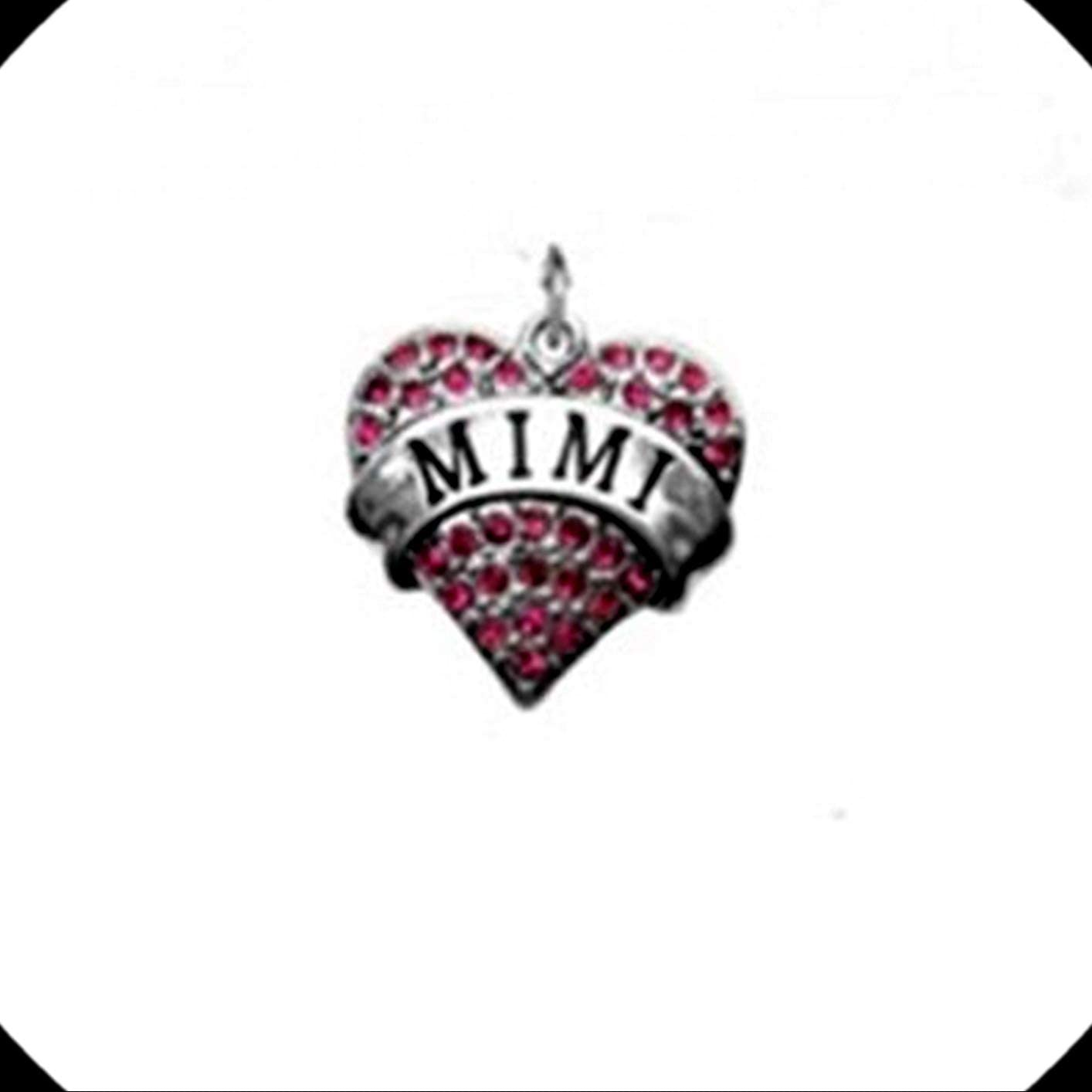 Mimi Grandmother Pink Rhinestone Heart Silver Traditional Charm or Pendant Adorable Charms and More for Your own Designs by CharmingStuffS