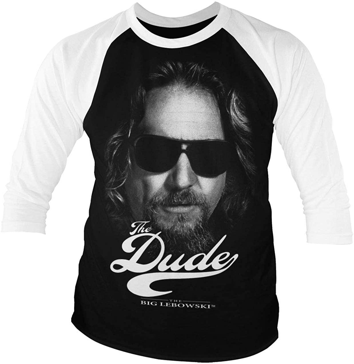 Officially Licensed The Dude II Baseball 3/4 Sleeve T-Shirt (Black-White)