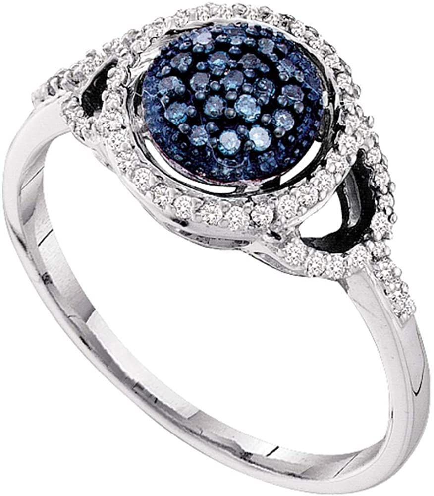 10k Yellow OR White Gold Round Shape Center Cluster Style w/Blue Diamonds Round Cut Ladies Diamond Engagement Anniversary Ring Band (1/4 cttw)