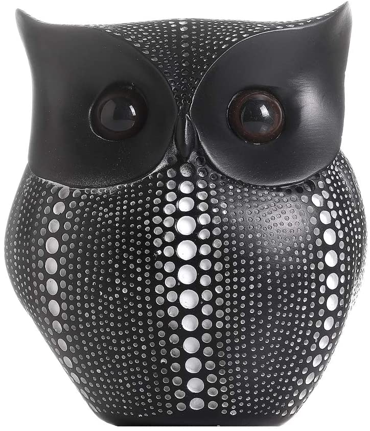 A Black and White Spotted owl Statue, Resin Sculpture Features a Cute Cartoon Animal as a Home Office Ornament (Black)
