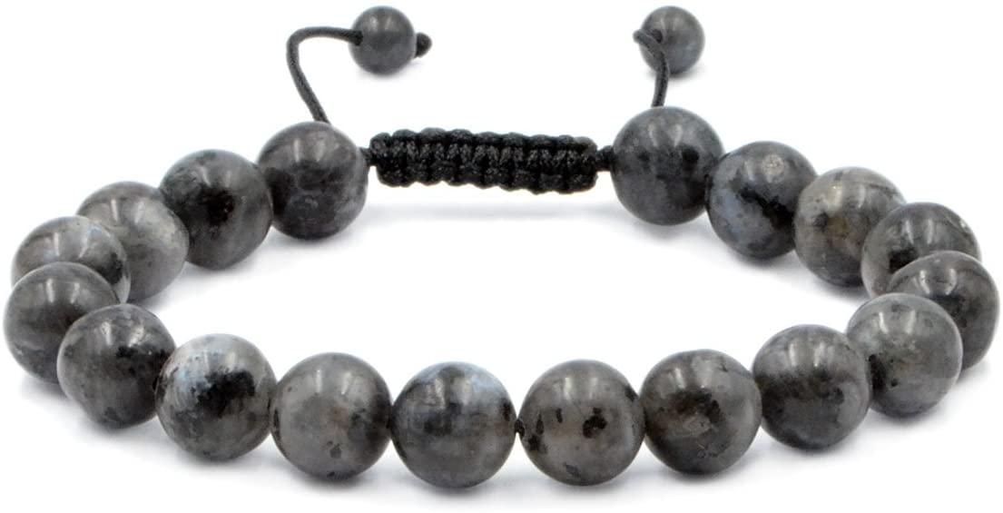 AD Beads Natural 10mm Gemstone Bracelets Healing Power Crystal Macrame Adjustable 7-9 Inch (Labradorite Larvakite)
