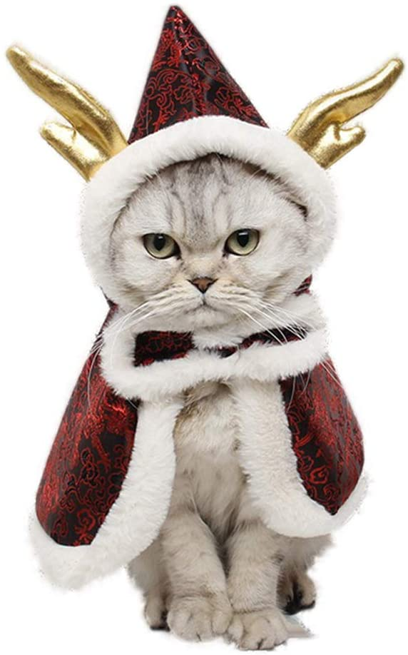NACOCO Cat Dragon Horn Cloak Chinese Style Pet Winter Mantle Small Dog Kitten Warm Wear Poncho Christmas Spring Festival Rabbit Cape Clothes
