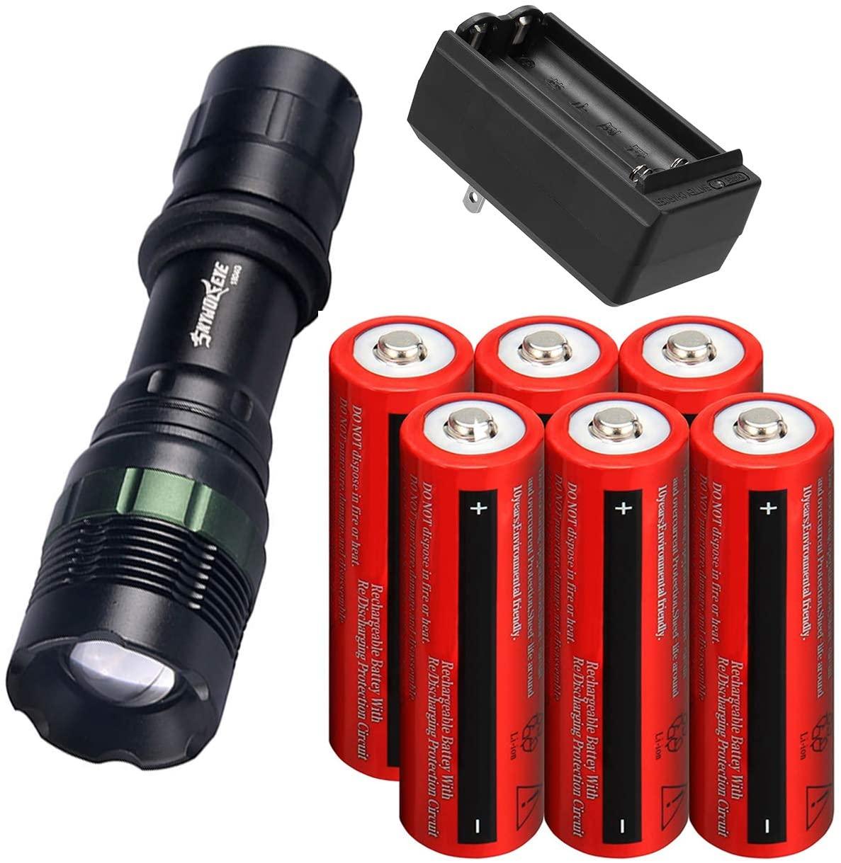 Tokeyla LED Flashlight 3 Working Modes Rechargeable Flashlight With 6 Pack 18650 Rechargeable Battery And 2 Slot 18650 Battery Charger Flashlight Suitable For Camping Hiking Outdoor Emergency Etc