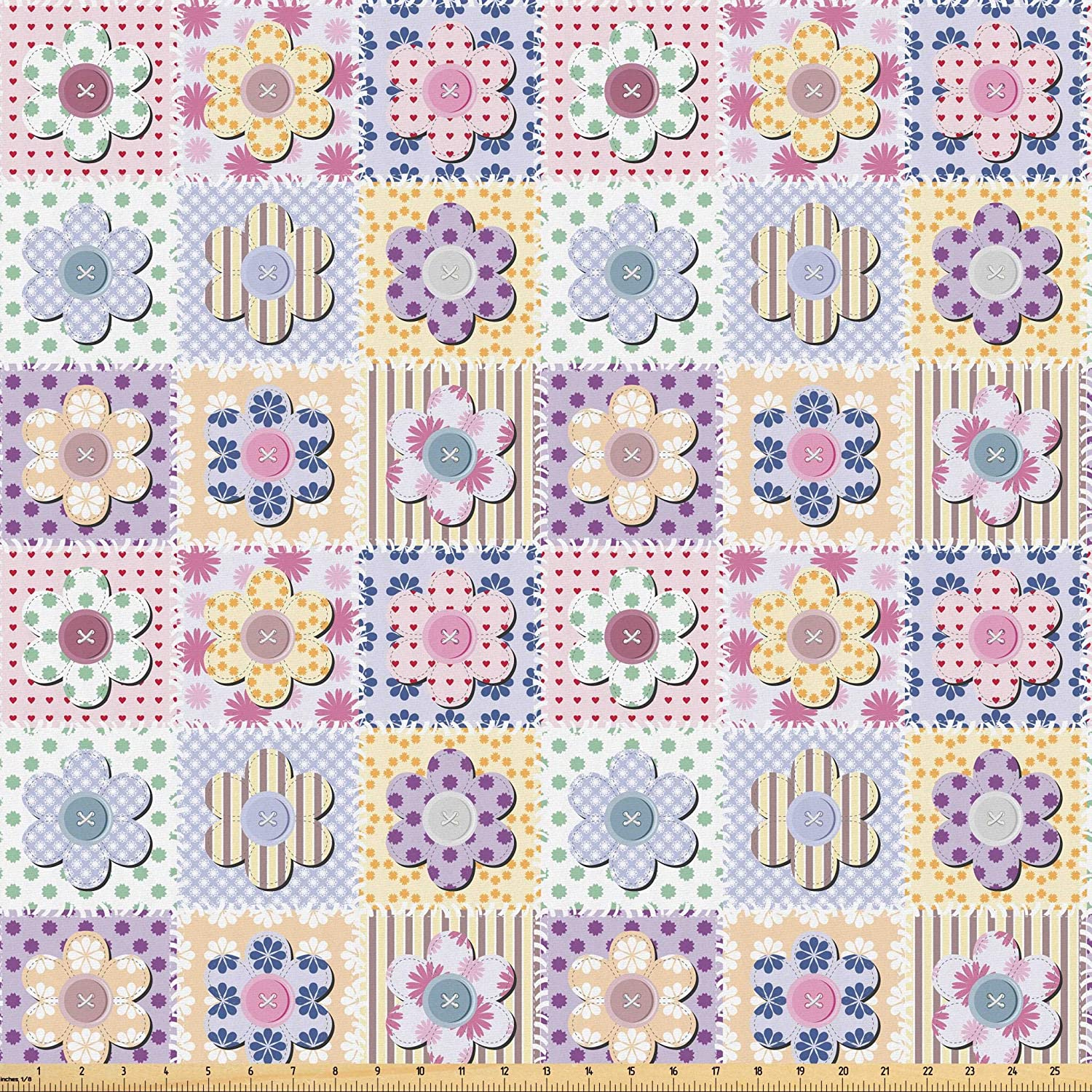 Lunarable Cabin Fabric by The Yard, Arts and Crafts Theme Handiwork Quilting Stitches Daisy Motifs Sewing Image Print, Microfiber Fabric for Arts and Crafts Textiles & Decor, 3 Yards, Pale Mauve