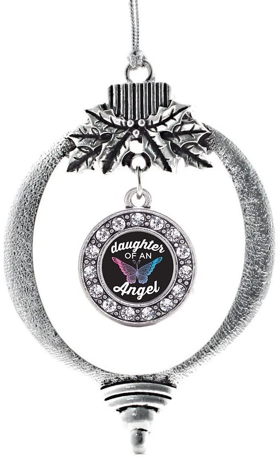 Inspired Silver - Daughter of an Angel Charm Ornament - Silver Circle Charm Holiday Ornaments with Cubic Zirconia Jewelry