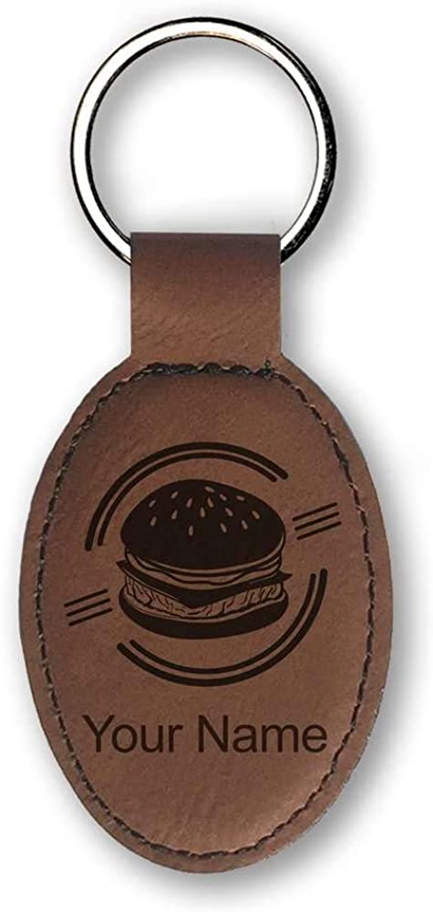 Faux Leather Oval Keychain, Hamburger, Personalized Engraving Included