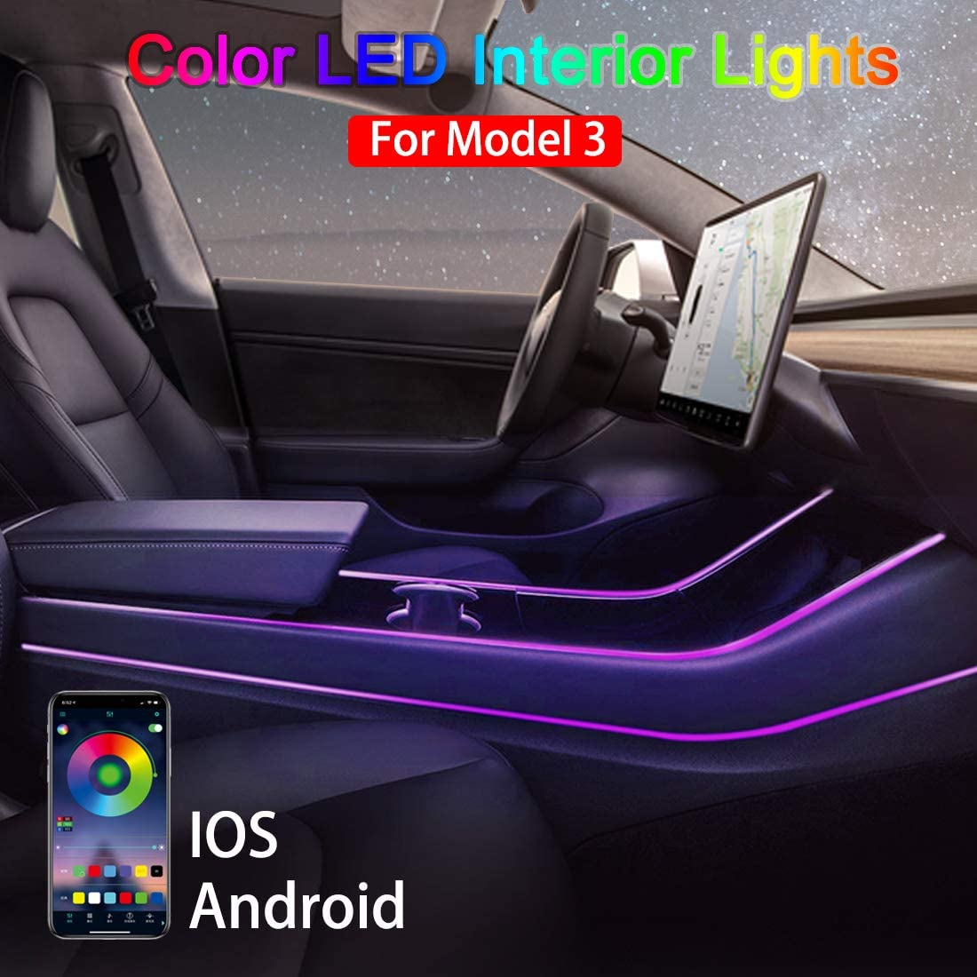 Model 3 Mood Lamp Car Center Console Atmosphere Light for Tesla Model 3, APP Controller Lighting Kits