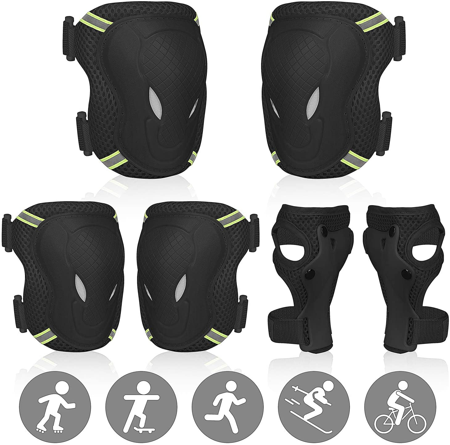 SEEHONOR Protective Gear Set for Kids/Youth, Adjustable Reflective Safety Knee Pads Elbow Pad and Wrist Guards for Boys Girls Ages 3-8 Rollerblading Skateboard Cycling Skating Bike Scooter