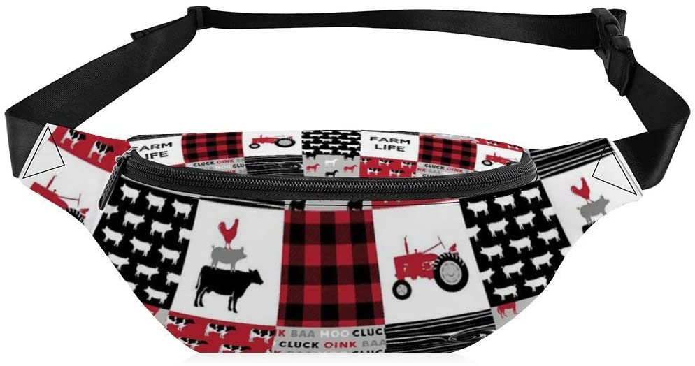Fanny Pack for Women Men Black and Red Woodgrain Pattern Waist Bag Sling Backpack Water Resistant Durable Lightweight Crossbody Daypack for Outdoor