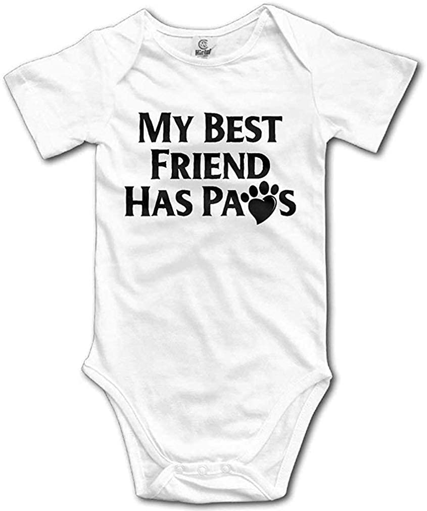 My Best Friend Has Paws Cute Baby Cartoon Bodysuit Short Sleeve Rompers Jumpsuit