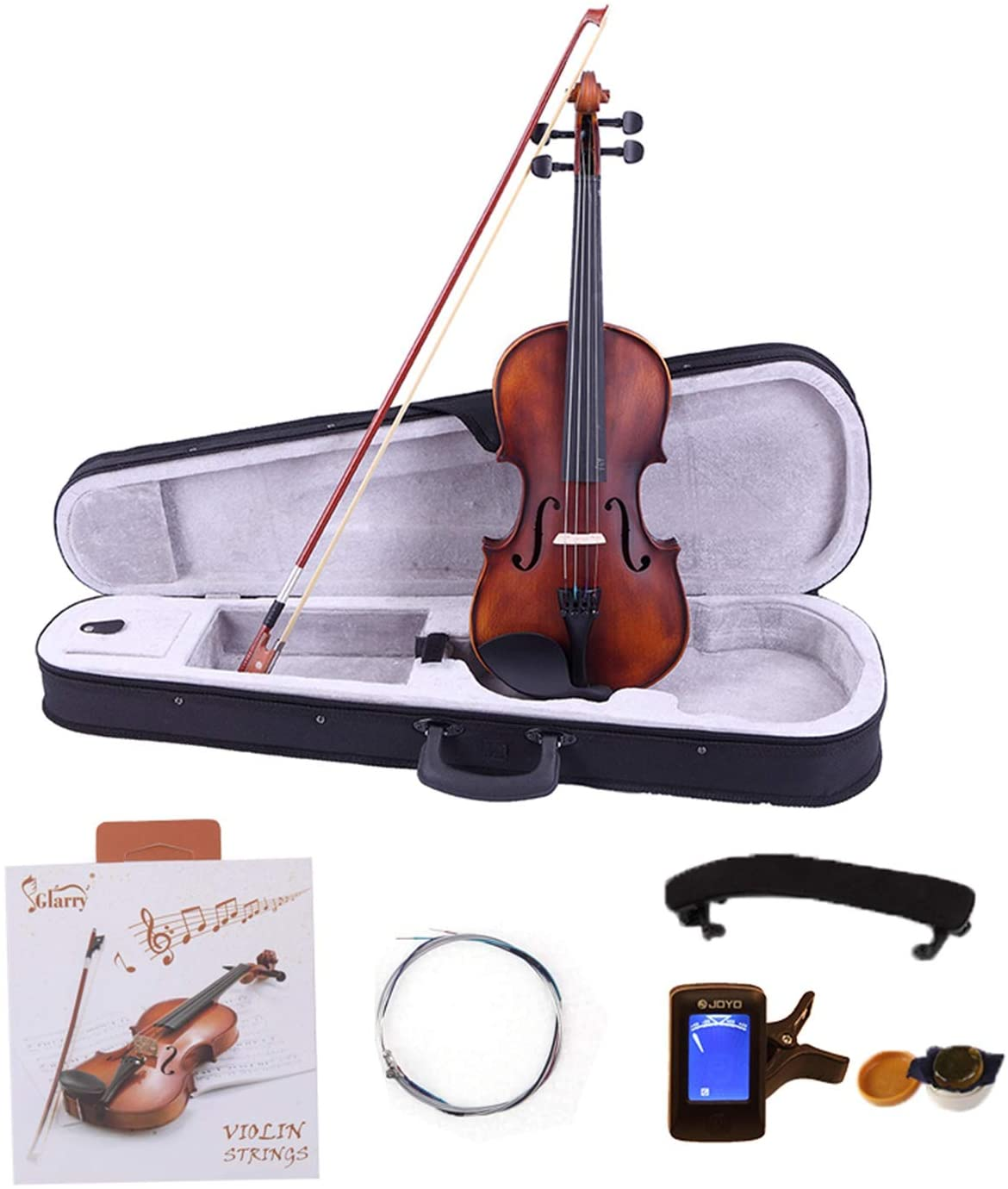 Glarry 4/4 Classic Solid Wood Violin Case Bow Violin Strings Rosin Shoulder Rest Electronic Tuner - Violin Set for Kids Beginners Students Adults