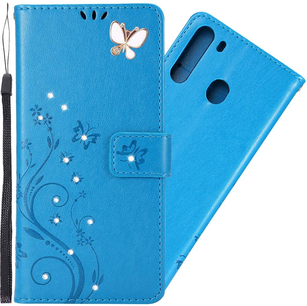 LEMAXELERS Samsung Galaxy A21 Wallet Case PU Leather Magnetic Bling Diamonds Embossed Butterfly Case with Card Slots Flip Stand Cover for Samsung Galaxy A21 Blue Bling Butterfly GH