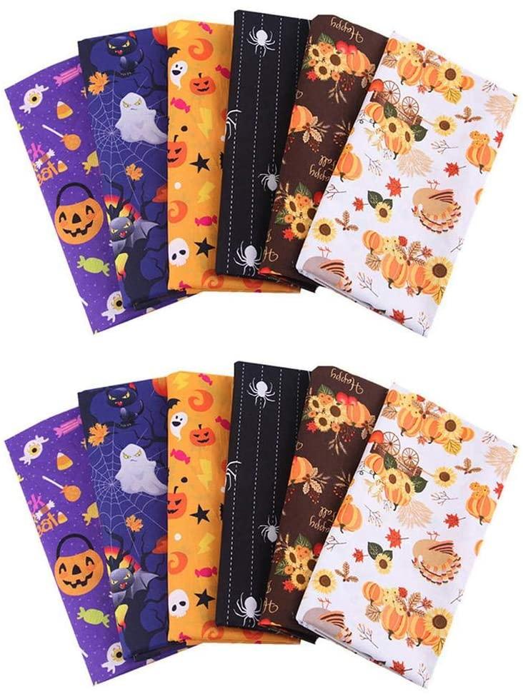 12pcs Cotton Fabric Fat Quarters, 25x25cm Halloween Theme Cotton Fabric Square Sheets Pumpkins Ghosts Fat Quarters Quilting Fabric Bundles