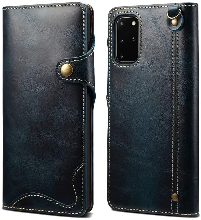 HuiFlying Galaxy Note 20 Ultra Case,Vintage Cowhide Leather Magnetic Button Wallet Case with Card Slots&Wrist Strap Ultra Slim Shockproof Protective Case for Samsung Galaxy Note 20 Ultra 6.9